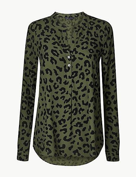 Animal Print V-Neck Long Sleeve Blouse