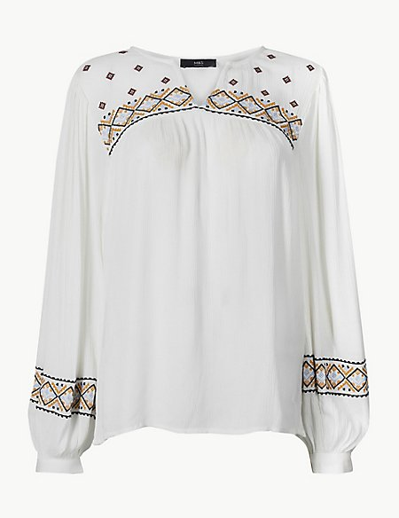 Embroidered V-Neck Long Sleeve Tunic