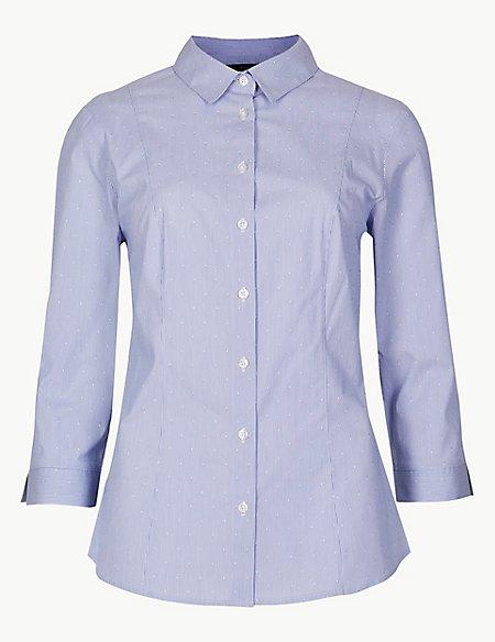 Cotton Rich Striped 3/4 Sleeve Shirt