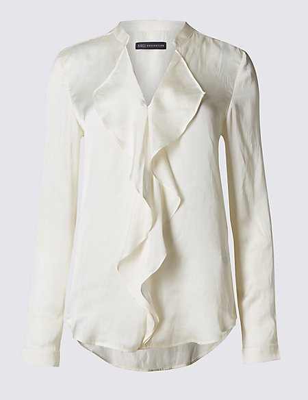 Satin Ruffle V-Neck Long Sleeve Blouse
