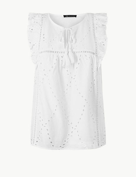 Pure Cotton Embroidered Shell Top