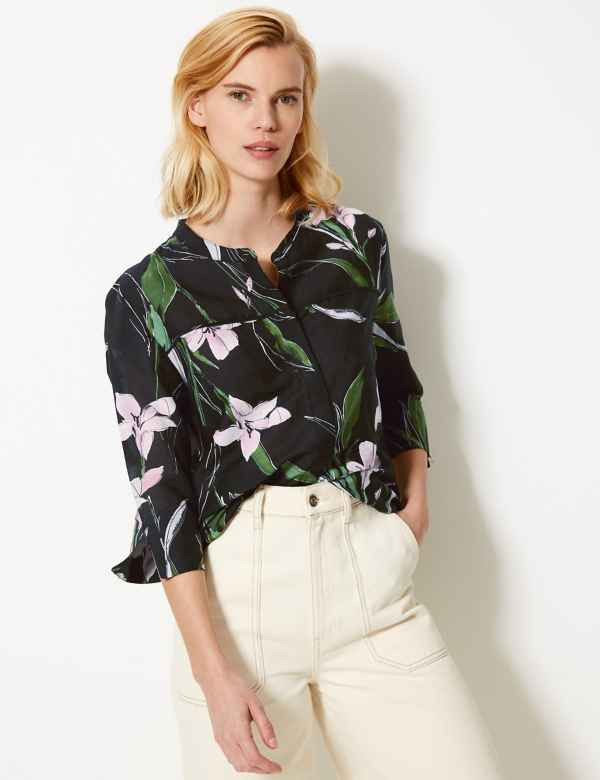 04718a5bde Floral Print Round Neck 3 4 Sleeve Blouse