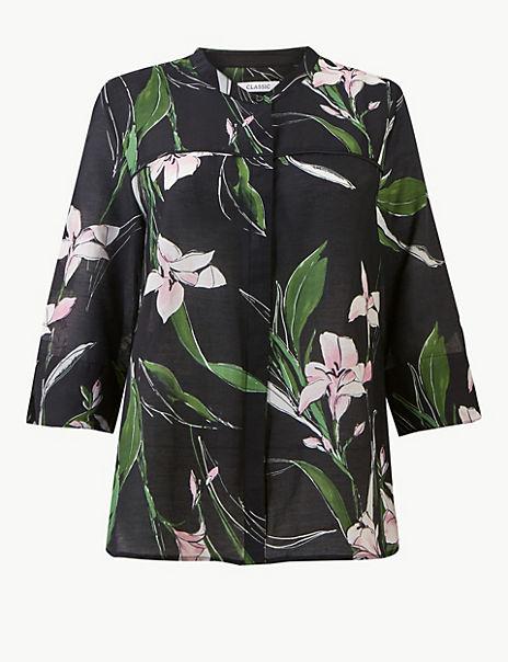 Cotton Rich Floral Print 3/4 Sleeve Blouse