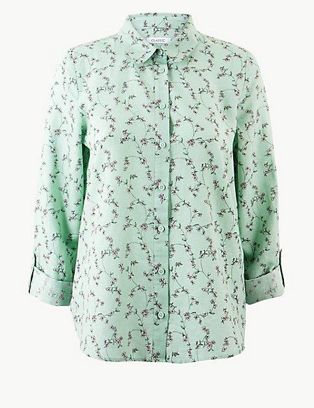 Linen Rich Floral Print Long Sleeve Shirt