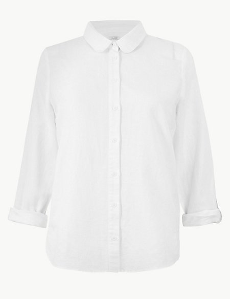Linen Rich Button Detailed Long Sleeve Shirt