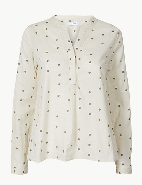 Pure Cotton Polka Dot Blouse