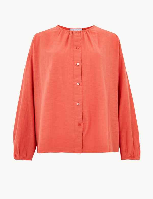 54712ec0f4ff Pure Cotton Textured Long Sleeve Blouse