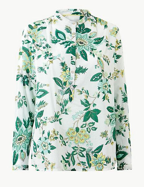 Pure Cotton Floral Print Long Sleeve Shirt