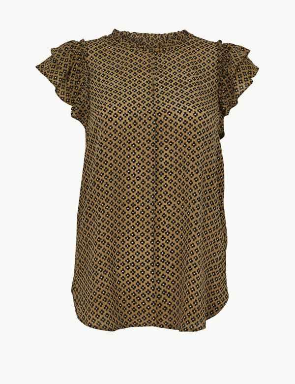 f88a9fa9c8 Pure Silk Printed Ruffle Sleeve Blouse