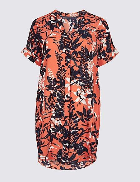 Floral Print Longline Short Sleeve Blouse