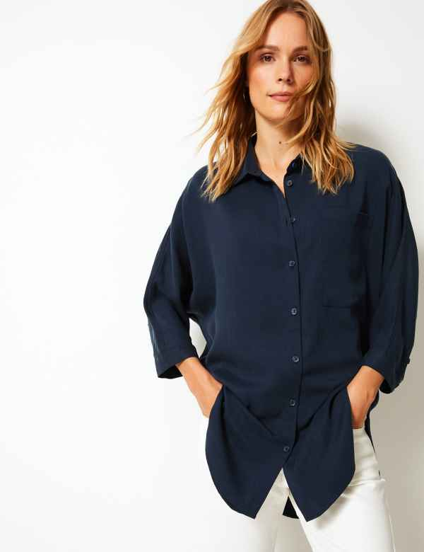 0dc696fb8f8a8 Relaxed 3 4 Sleeve Shirt