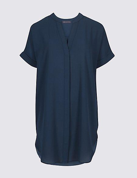 Longline Notch Neck Short Sleeve Blouse