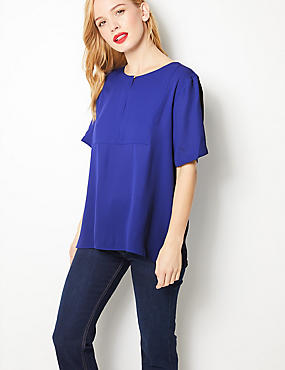 PETITE Short Sleeve Blouse