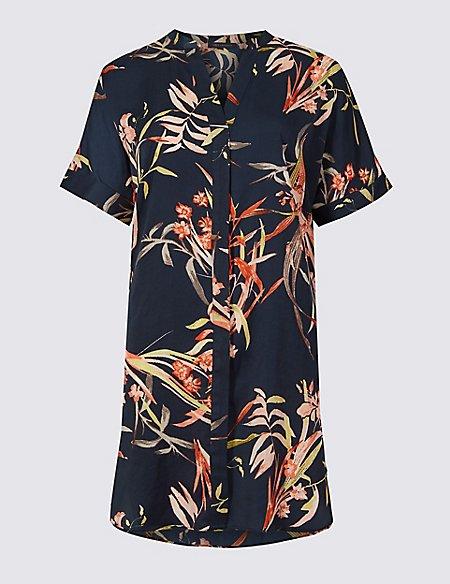 Floral Print Satin Short Sleeve Blouse