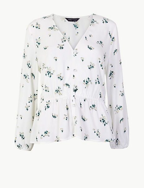 Floral Print Waist Detail Crinkle Blouse