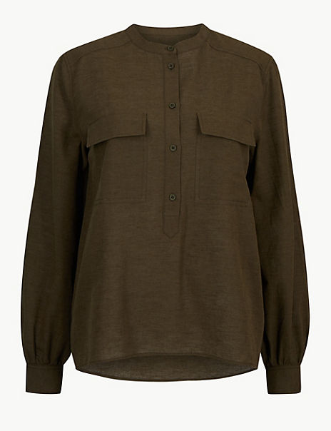 Utility Long Sleeve Top with Linen