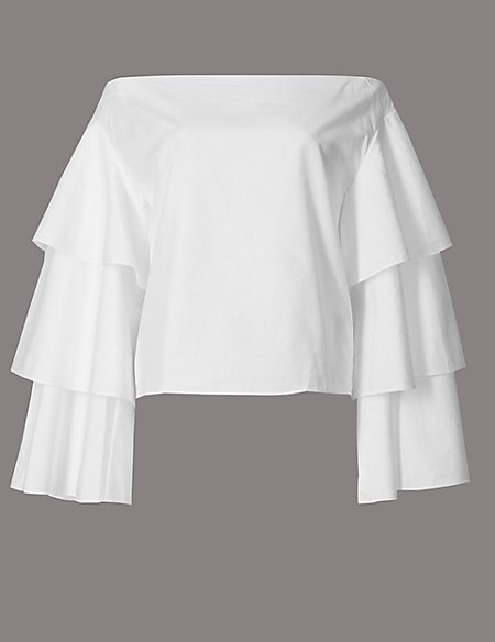 Pure Cotton Tiered Sleeve Bardot Top