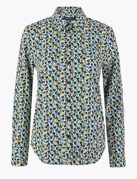 Pima Cotton Floral Button Detailed Shirt
