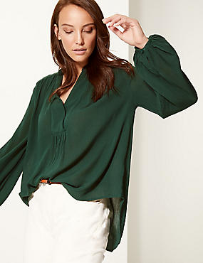 Crinkle Notch Neck Long Sleeve Blouse