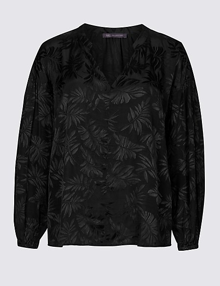 PETITE Palm Print Long Sleeve Blouse