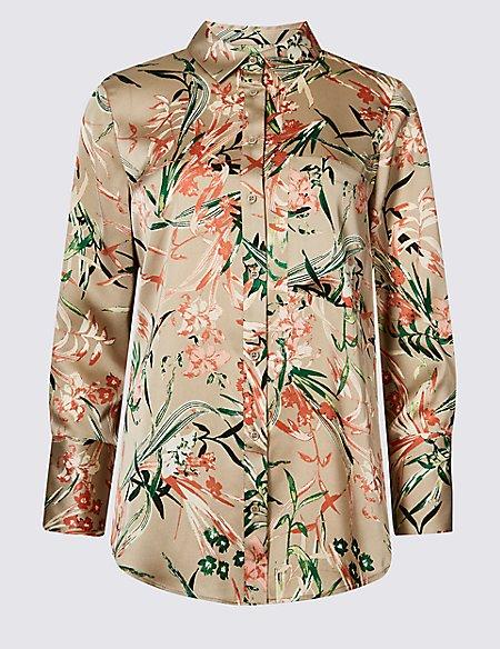 PETITE Floral Print Satin Long Sleeve Shirt
