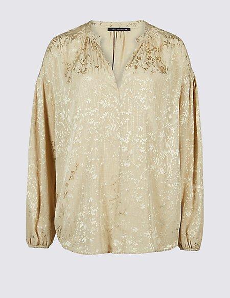 Floral Jacquard Long Sleeve Blouse