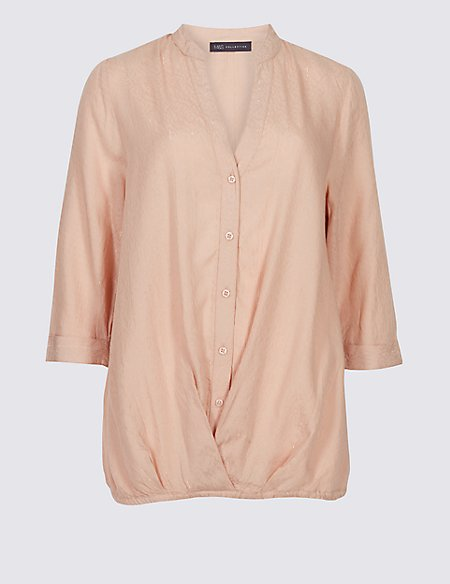 Modal Rich Striped 3/4 Sleeve Blouse