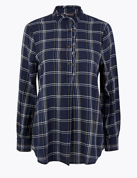 Cotton Rich Checked Longline Shirt