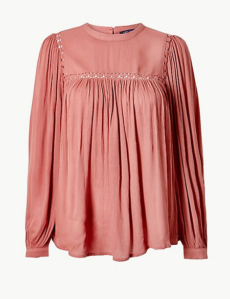 Lace Insert High Neck Long Sleeve Blouse