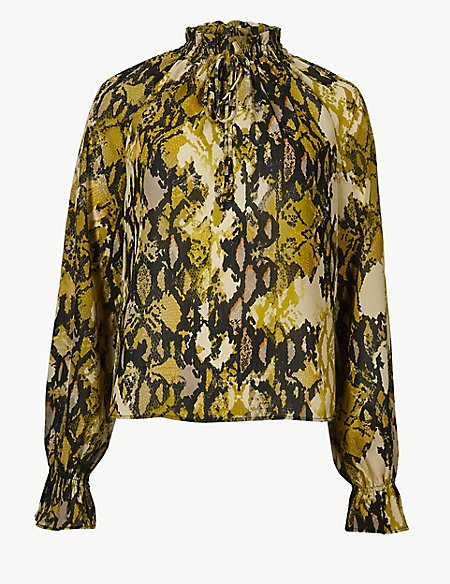 Printed High Neck Long Sleeve Blouse