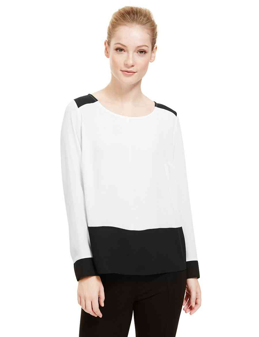 3cf16a8f9b1e PETITE Monochrome Colour Block Blouse