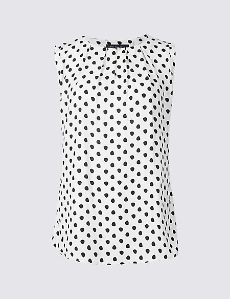 Spotted Round Neck Vest Top