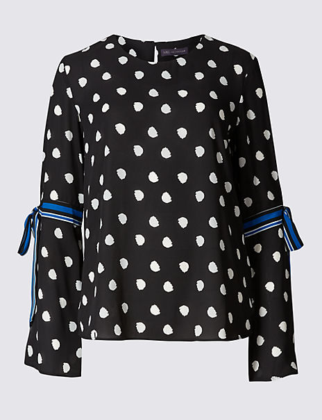 Spotted Round Neck Tie Sleeve Blouse