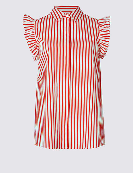 Pure Cotton Striped Ruffle Shirt