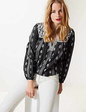 Cotton Rich Embroidered Long Sleeve Blouse