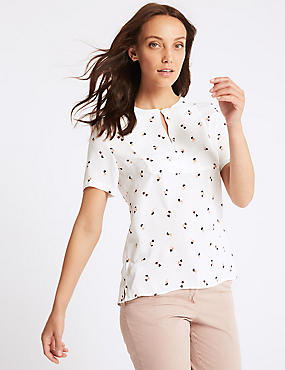 Printed Round Neck Short Sleeve Blouse