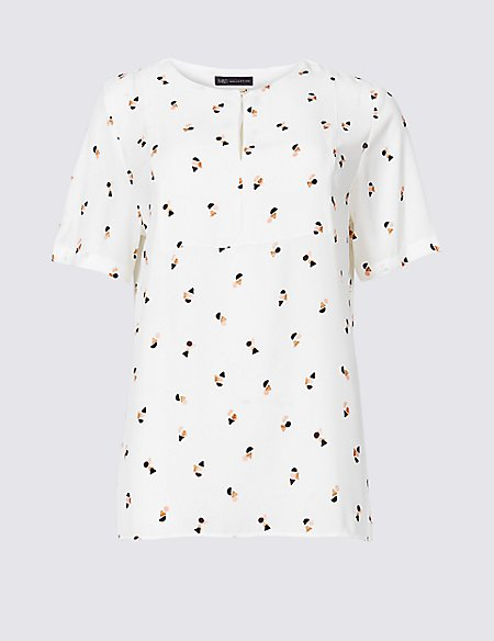 Printed Round Neck Short Sleeve Blouse