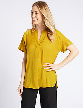Popover Notch Neck Short Sleeve Blouse