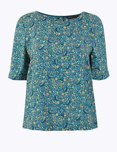 Floral Boat Neck Short Sleeve Shell Top