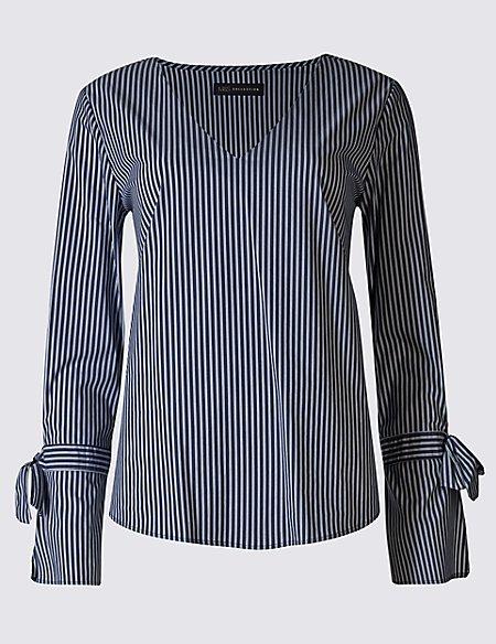 Striped V-Neck Tie Sleeve Shell Top