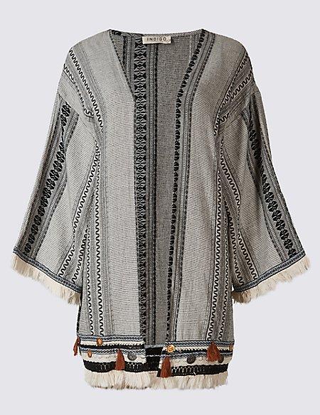 Pure Cotton Jacquard Print Kimono Cardigan