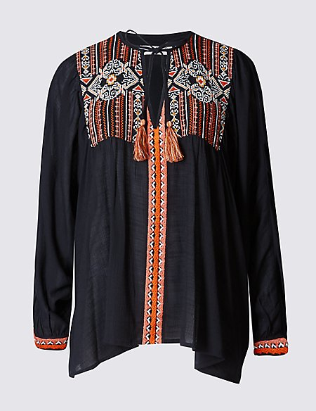 Embroidered Notch Neck Batwing Sleeve Blouse