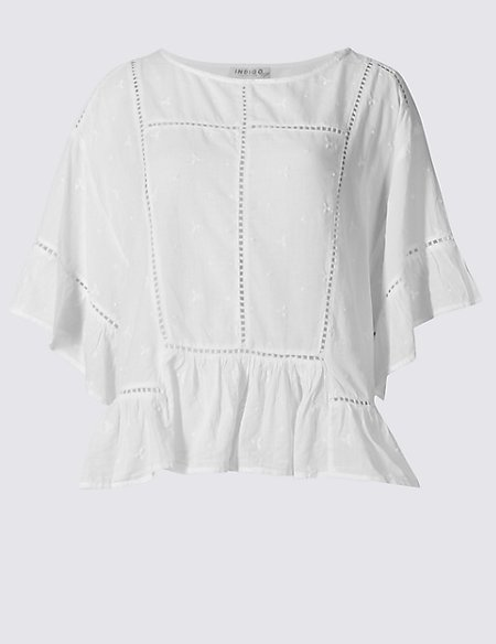 Pure Cotton Ladder Trim Flared Shell Top