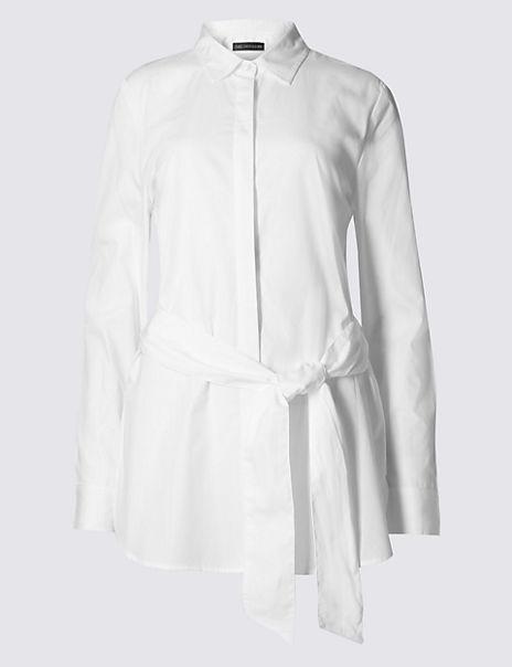 Pure Cotton Tie Waist Long Sleeve Shirt