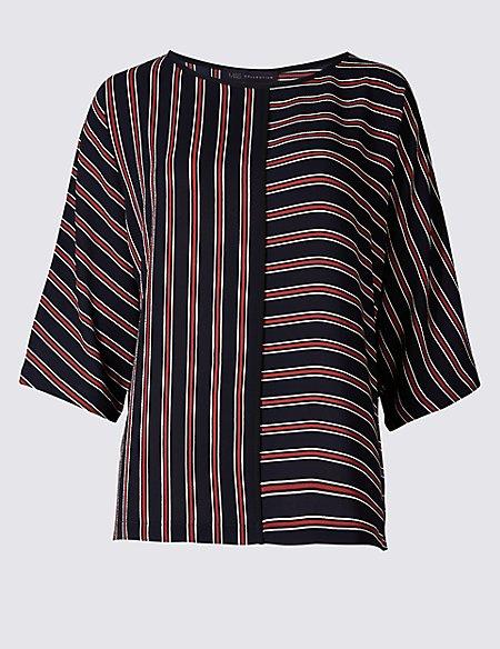 Kimono Striped 3/4 Sleeve Shell Top