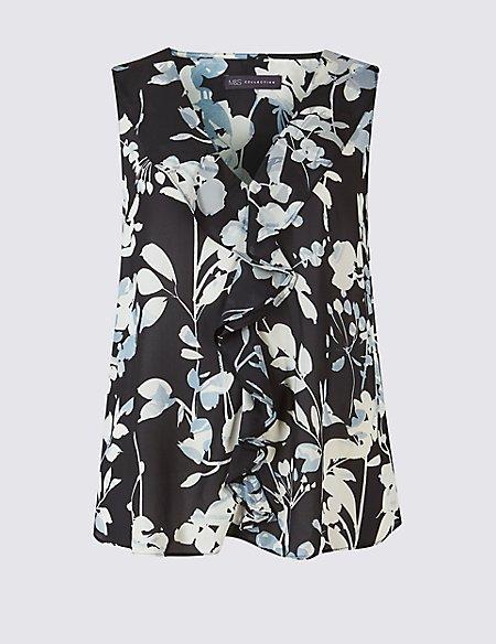 Floral Print Frill V-Neck Vest Top