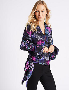 Floral Print Satin Wrap Tie Side Blouse
