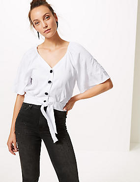 V-Neck Half Sleeve Blouse