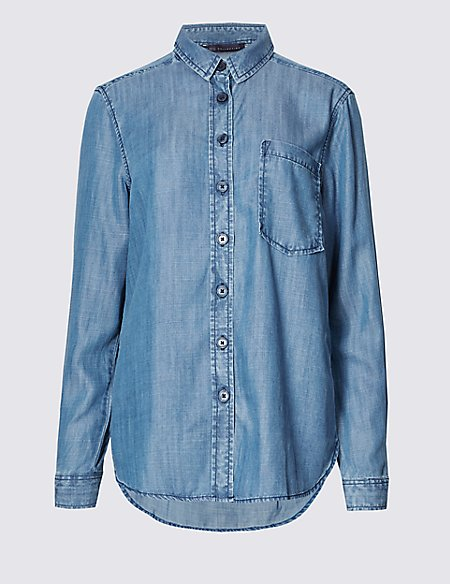Dipped Hem Long Sleeve Shirt