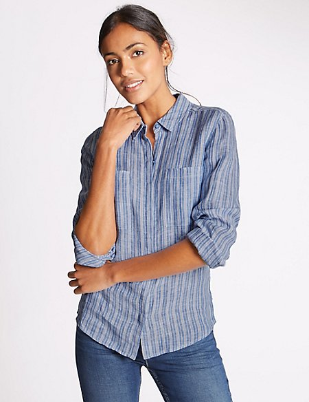 Pure Linen Striped Long Sleeve Shirt blue mix Marks and Spencer Outlet Clearance Official Site Online p5WPr